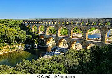 aqueduc, pont, gard, méridional, france, du