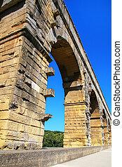 aqueduc, pont, gard, méridional, france, fin, du, vue