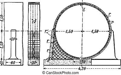 Aqueduct Acheres, vintage engraving.