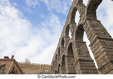 Aqueduct - an old stone aqueduct in Segovia, Spain