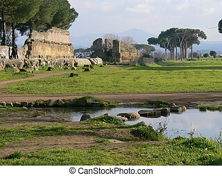 "Aqueduct"" archeologic park in Rome - View of Roman ""Park of..."