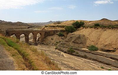 Aqueduct in Kharanaq village near Yazd. Iran - Aqueduct...