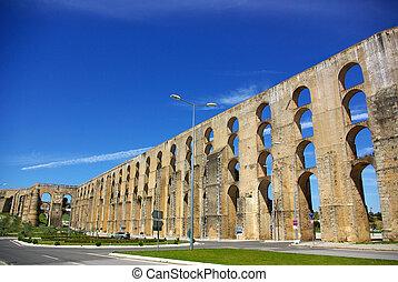 Aqueduct in old city of Elvas.