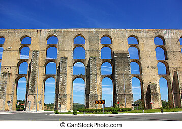 Aqueduct in old city of Elvas, south of Portugal.