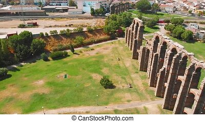 Aqueduct of the Miracles in Merida, aerial view. Roman aqueduct of Merida. view of Aqueduct of the Miracles in Merida, Extremadura Spain.
