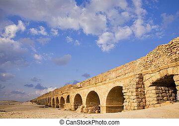 Aqueduct of the Roman period at coast sea