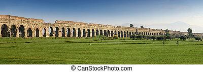 Claudian Aqueduct stretches to the horizon