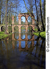 Aqueduct reflecting in the pool