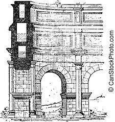 Aqueduct, vintage engraving.