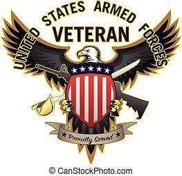 aquila calva, orgogliosamente, veterano, servito, vettore, forze, stati uniti, illustrazione, armato