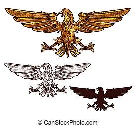 aquila, dorato, araldico, o, falco, uccello
