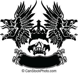 aquila, emblema, cranio, colorare, simbolo, uno, ali