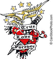 aquila, fiore, spada, tatuaggio