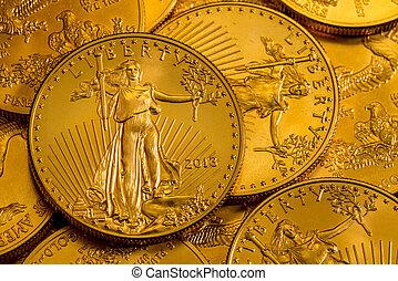 aquila, monete oro, ci, uno, oncia, mucchio, tesoreria