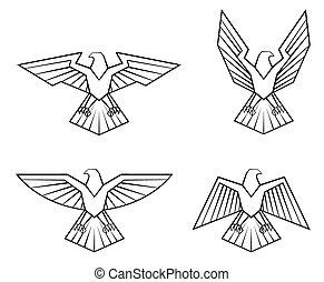 aquila, simbolo, set, collezione