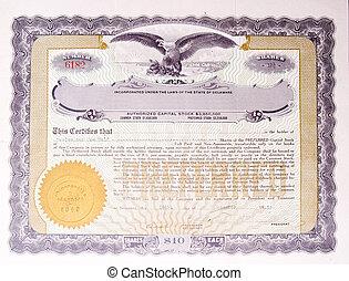 aquila, vecchio, certificato, ci, americano, medaglione,...
