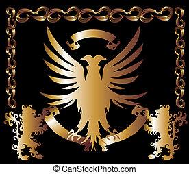 aquila, vettore, arte, scudo, oro