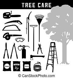 aquilo, árvore, árvore, ferramentas, pomar, garden., cuidado, manutenção, árvores, materiais, você mesmo