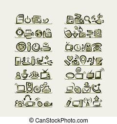 aquilo, ícones, esboços, ligado, prateleiras, para, seu, desenho