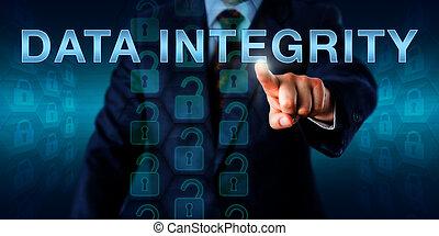 aquilo, gerente, empurrar, dados, integridade