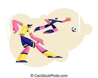 aquilo, jogador, pegando, esportes, goleiro, jogo, jovem, uniforme, salto, tomar, bola futebol, apartamento, homens, par, futebol, ilustração, chutando, parte, caráteres, caricatura, prática, competition., vetorial, macho