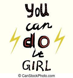 aquilo, slogan., lata, menina, tu, feminismo
