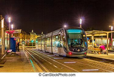 aquitaine, tram, france, -, bordeaux