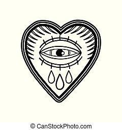aquoso, coração, gráfico, olho, flamejante