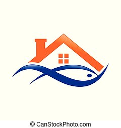 aquoso, peixe azul, casa, abstratos, lago, desenho, laranja,...