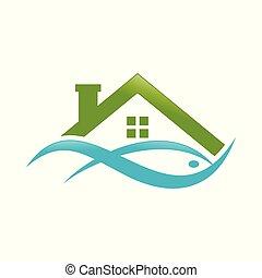 aquoso, peixe, casa, abstratos, lago, desenho, logotipo,...