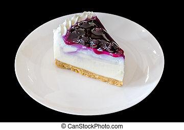 arándano, pastel de queso, blanco, placa