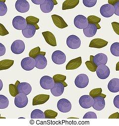 arándano, seamless, vector, pattern., colorido, azul, baya, 0, hojas verdes