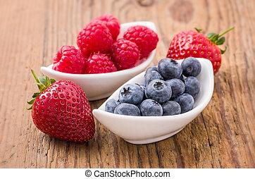 arándanos, frambuesas, fresas, composición, fresco