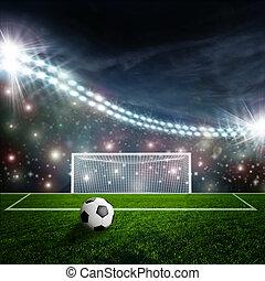arène, boule football, vert, stade