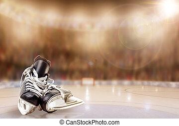 arène, espace, patinoire hockey glace, patins, copie