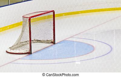 arène, filet, hockey, glace