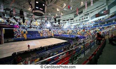 arène, megasport, commencer, gens, grand, exposition, glace, attente