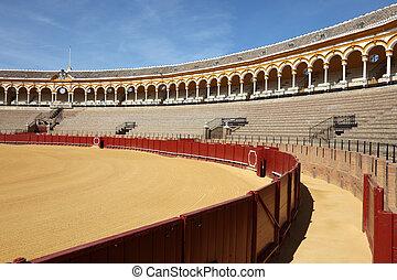 arène, (plaza, toros), de, Corrida, Andalousie, Séville,...