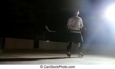 arène, regarder, joueurs, appareil photo, hockey, professionnel, uniform.