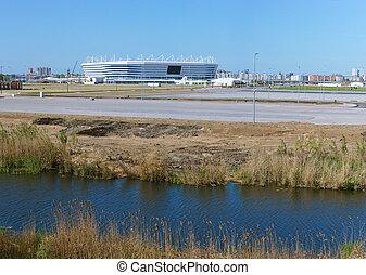 arène, tasse, facilité, football, sports, kaliningrad, pregola, stade, mondiale, baltique, rivière