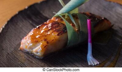arôme, anguille, préparer, repas, rôti, décoré, consister