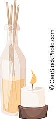arôme, spa, vecteur, illustration., bougies