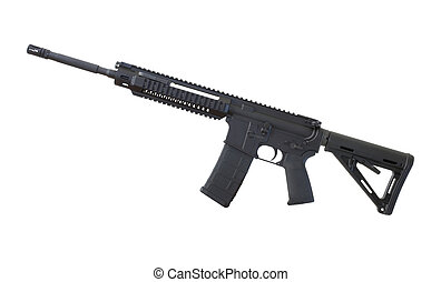 AR 15 rifle - Assault rifle in black that is isolated on a...