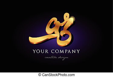 ar a r 3d gold golden alphabet letter metal logo icon design handwritten typography