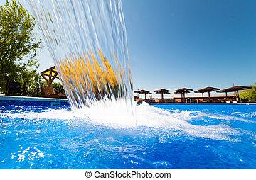 ar, abertos, piscina, natação