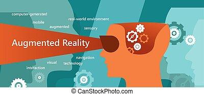 ar, augmented, 現実, 概念, イラスト, ∥そうした∥, ビジョン, 相互作用