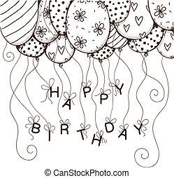 ar, balões, borda, com, texto, para, aniversário, partido.
