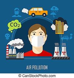 ar, conceito, poluição