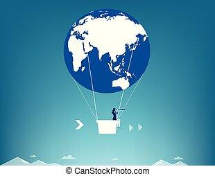 ar, conceito, telescópio, executiva, balloon., olhar, globo, vetorial, illustration., negócio