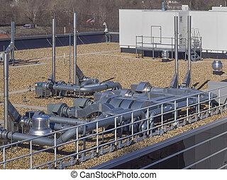 ar condicionado, telhado, unidades